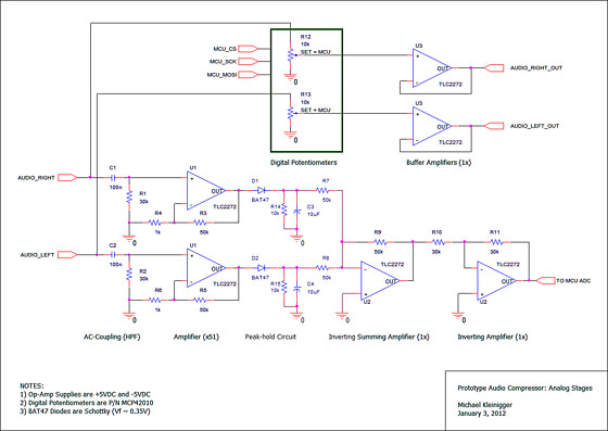 Audio Compressor: Analog Stage Schematic (click to enlarge)