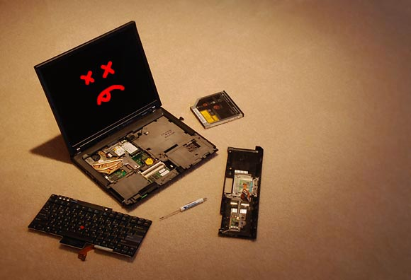 Dead, Partially-Disassembled, ThinkPad T60