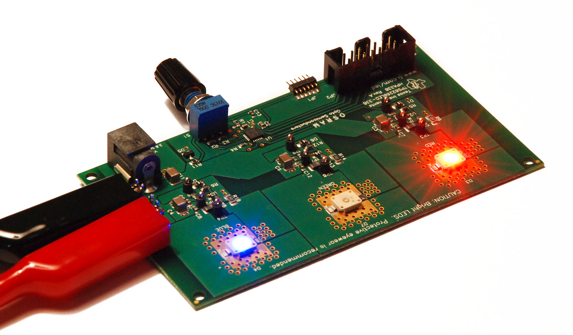 Review Tis High Power Led Driver Evaluation Board Non Lexical Buck Converter Each Is Driven By A Tps62260 Step Down Dc Low Cost Msp430f2131 Microcontroller Controls All Three Drivers Via Pulse Width
